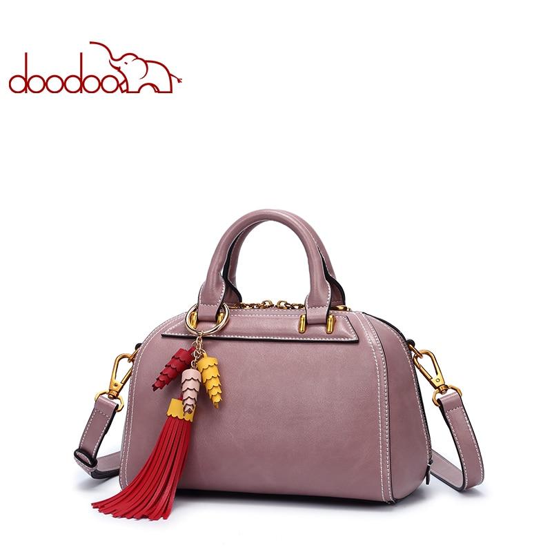 DOODOO Luxury Handbags Women Bags Designer Tote Bag Female Shoulder Crossbody Bags Pu Leather Tassel Design 2018 Messenger Bags