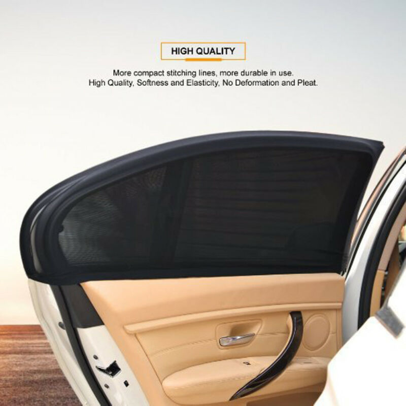 2 x Auto Car Rear Side Janela Indiscreta Viseira de Sun Sombra Sombrinha Malha Capa Escudo Protetor Bloqueador UV Preto