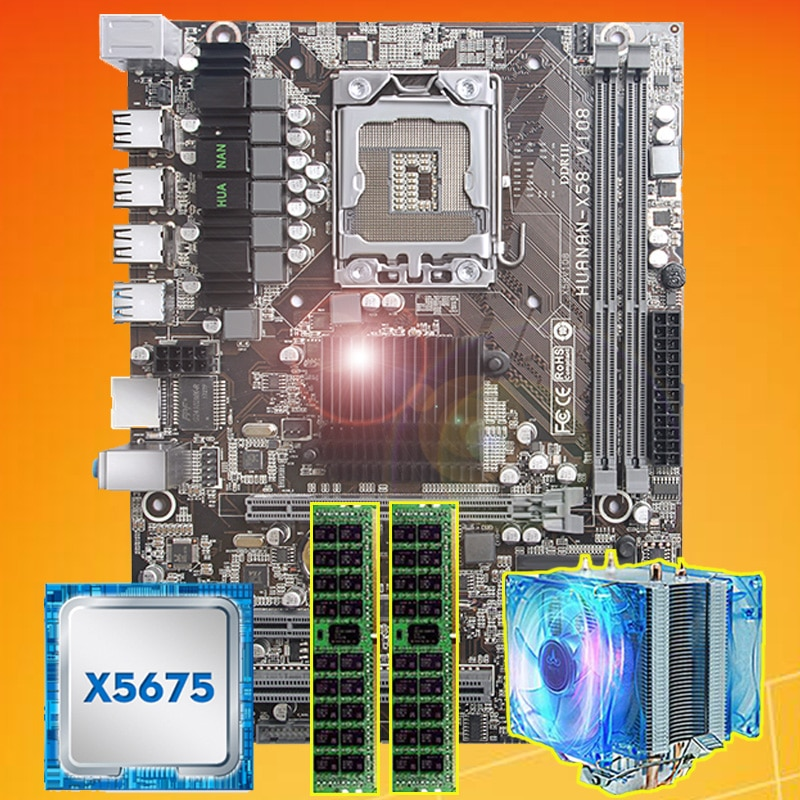 Placa base de marca en venta Huanan Zhi X58 placa base con CPU Intel Xeon X5675 3,06 GHz con enfriador 8G (2*4G) DDR3 REG ECC memoria