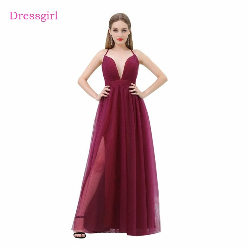 Burgundy 2019 Celebrity Dresses A-line Spaghetti Straps Tulle Slit Open Back Sexy Long Evening Dresses Red Carpet Dresses