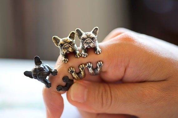 Retro Animal hecho a mano anillo de Bulldog Francés anillo de moda antiguo de oro Vintage anillos ajustables para las mujeres JZ315