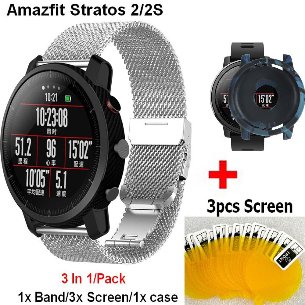 Correa de cinturón de repuesto 3 en 1 para Huami Amazfit Stratos 2/2s funda completa, película de pantalla para Xiaomi Huami Amazfit Pace Band
