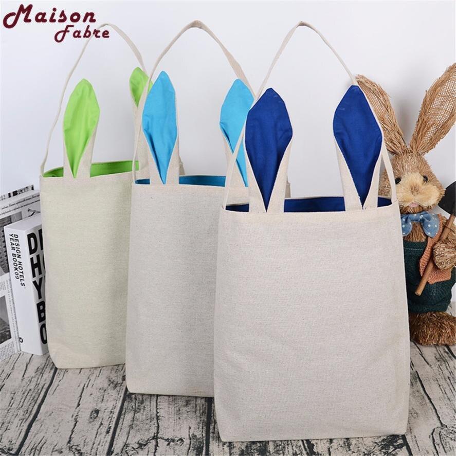 2019 New 1PC Cotton linen Gift Bag Easter Rabbit ears Bag Tote Handbag Wristlets Clutches Bag Cute Handbags  O0911#30