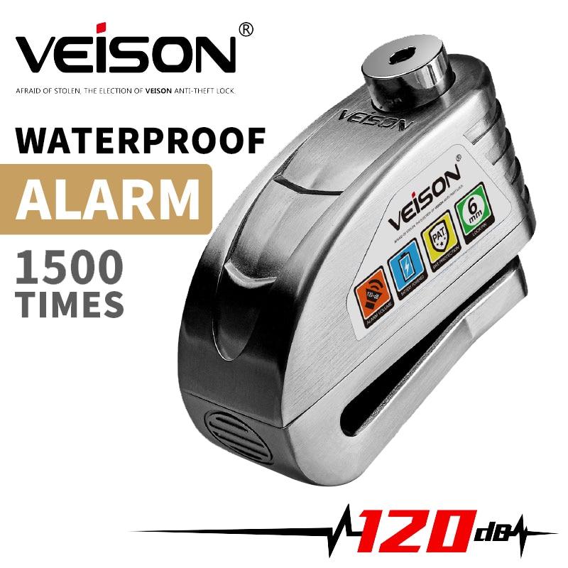 VEISON-قفل إنذار للدراجة النارية ، مقاوم للماء ، للموتوكروس ، قرص أمان ، مضاد للسرقة ، فرامل ، دوار ، قفل ، Alarma Moto