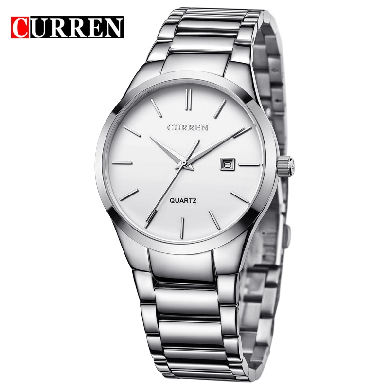 CURREN Military Clock White Silver Watches Date Display Mens Quartz Watches Top Brand Luxury Sport Relogio Masculino