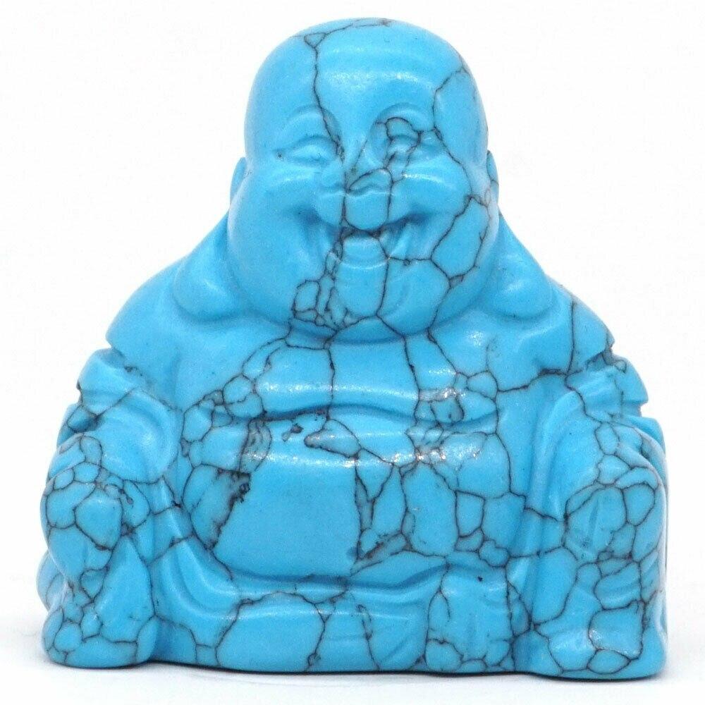 """Estatua de Buda Maitreya Piedra Natural azul turquesa tallada estatuilla de piedra Feng Shui artesanías decoración del hogar 1,4"""""""