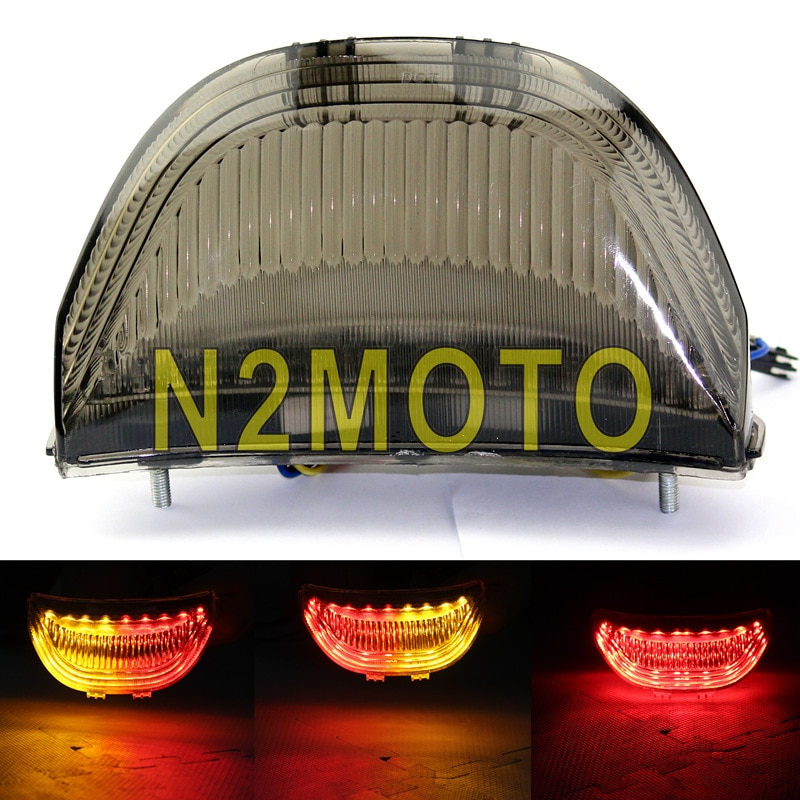 Lente de humo LED luz trasera ámbar rojo Freno de parada de señal de giro de la lámpara integrador para Honda cbr600hr 2003-2006 CBR 1000hr 2004-2007