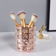 Rose Gold crystal Makeup Organizer Desktop Brush Eyebrow Pencil Storage Box Nordic Pearl Jewelry Pen Holder Decoration