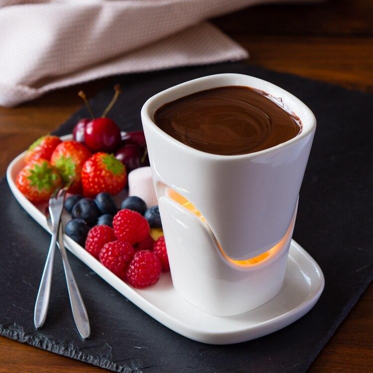 120ml Keramik schokolade Fondue set eis topf set eis topf käse topf