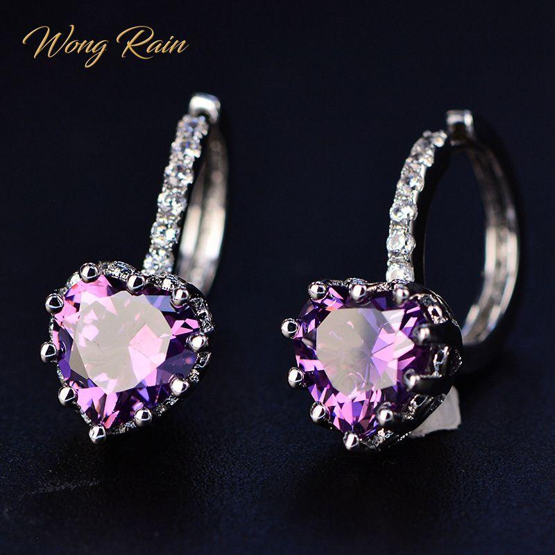 Wong Rain 100% 925 Sterling Silver Love Heart Amethyst Gemstone Earrings Hoop Earrings Women Gold Party Jewelry Gifts Wholesale