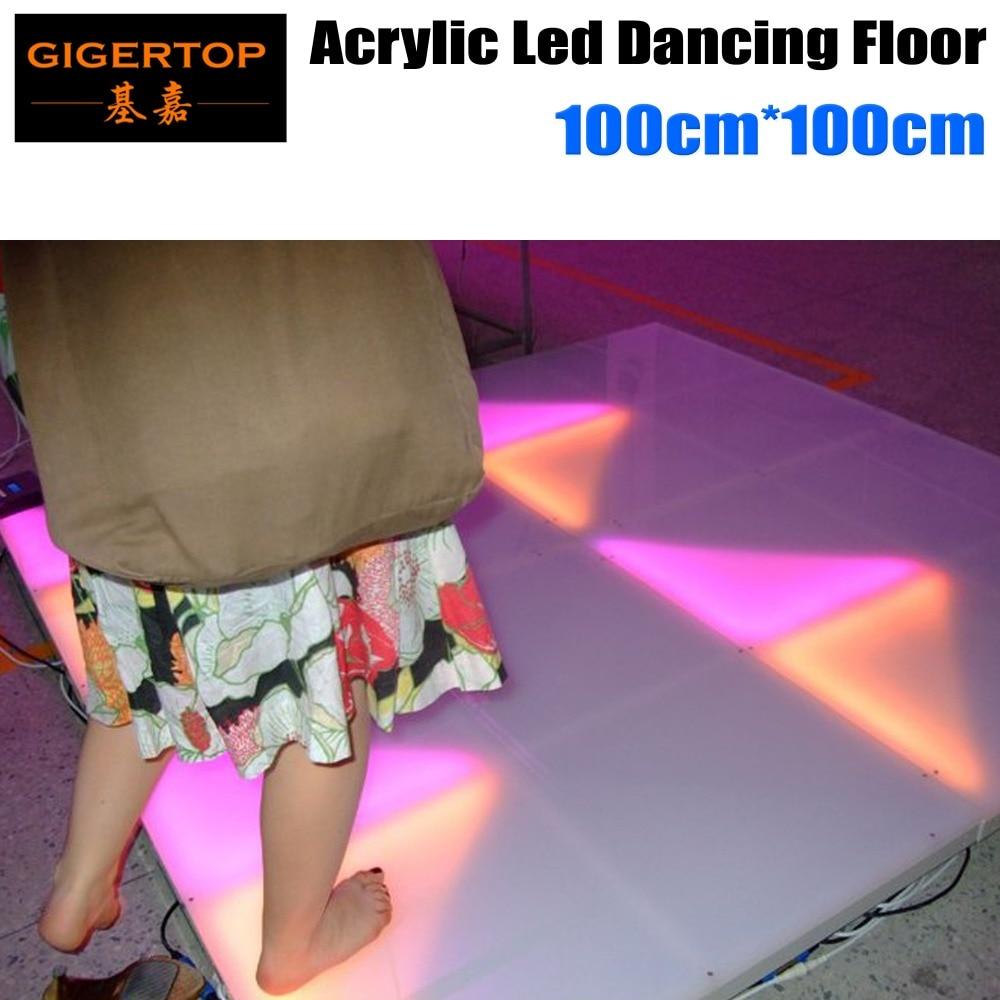 Excelente 1M * 1M Color RGB Led pista de baile Panel de acrílico marco de aluminio, ABS, sótano Control DMX 7 canales 960*5mm Led 110 V-240 V