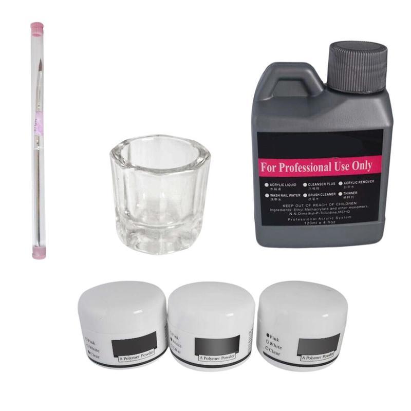 Manicure Set Acrylic Liquid 3 Colors Crystal Powder Nail Art Kit Brush Tools for Woman Home Bueaty Shop