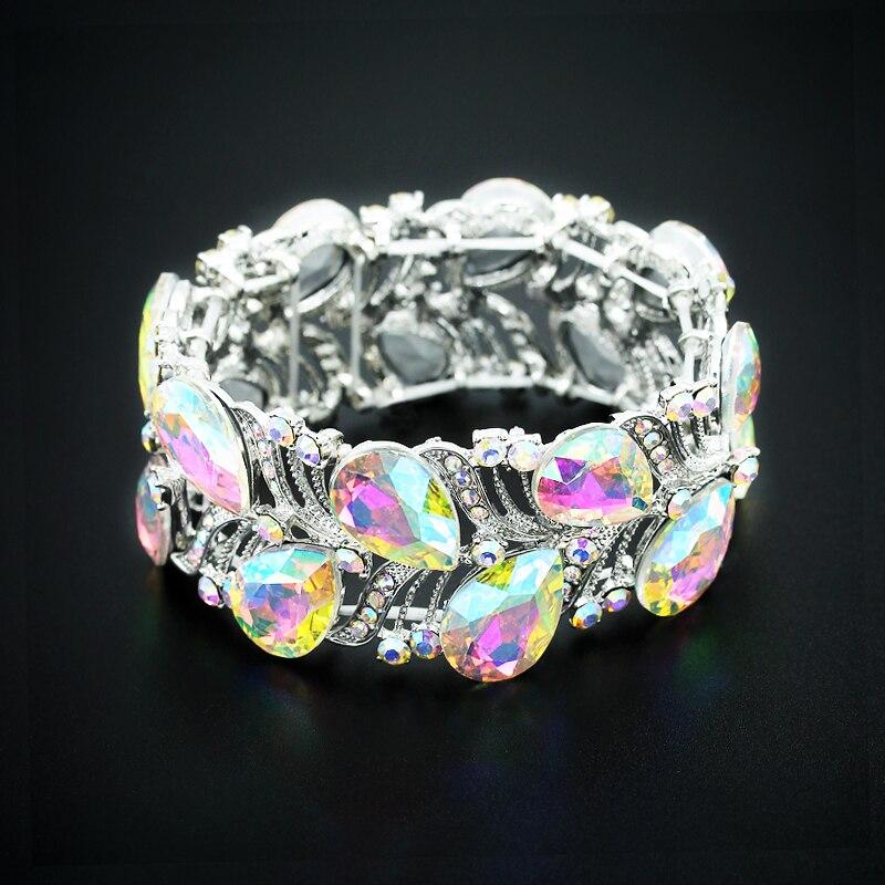 Роскошный браслет на запястье с кристаллами серебристого цвета, большой широкий растягивающийся браслет в индийском стиле, украшения в под...