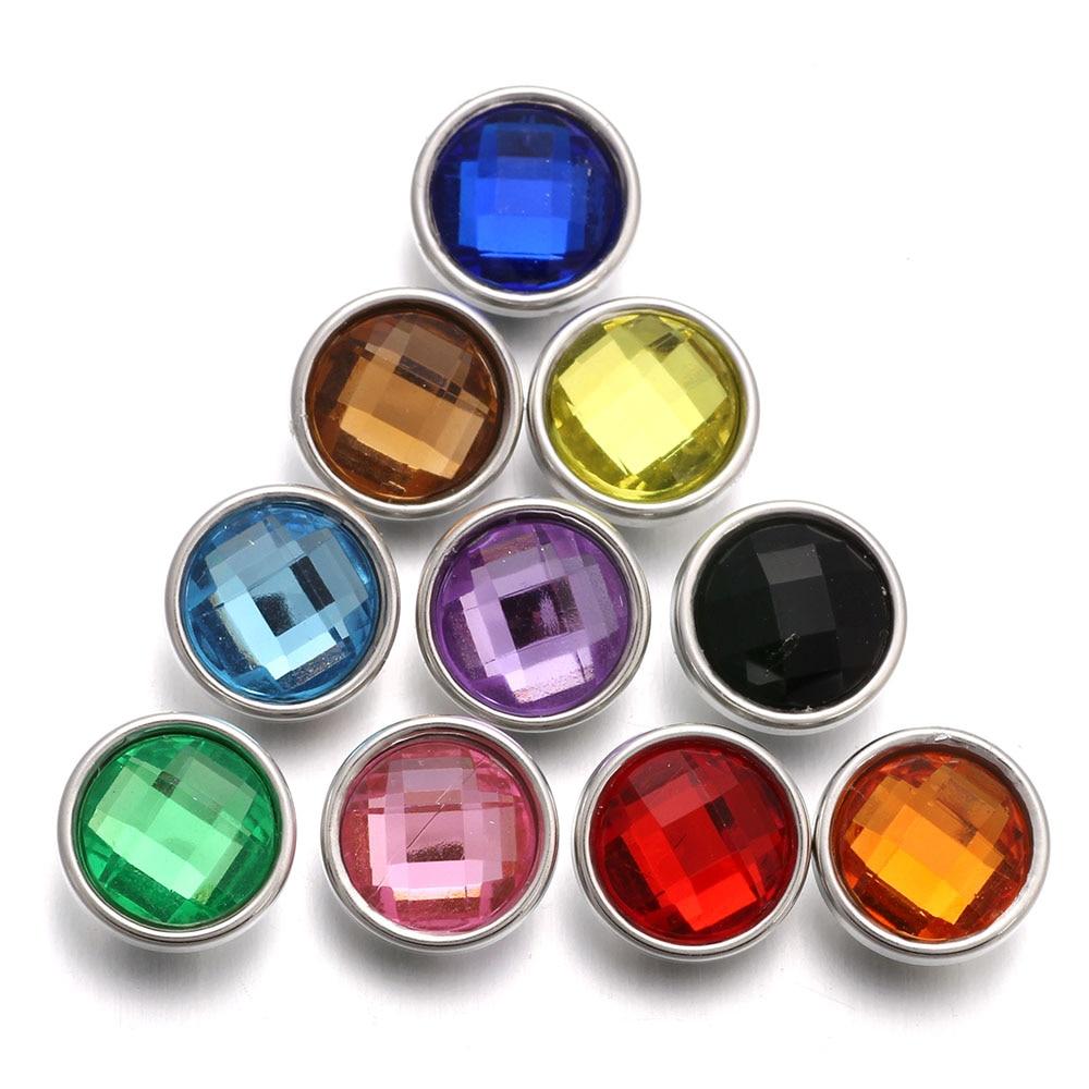 10 pcs/lot mixte coloré résine Snap 12mm boutons pression bijoux Fit 12mm Snap Bracelets & Bracelets charme bijoux pour femmes hommes