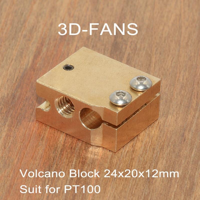 Piezas de impresora 3D, 1 unidad, bloque calefactor Volcano de latón para E3D Volcano, Sensor termistor Hotend PT100 24x20x12mm