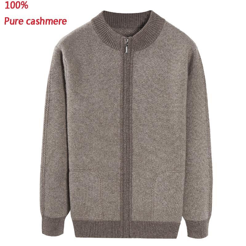 جديد وصول الرجال أزياء الشتاء سماكة 100% نقية الكشمير سترة الذكور سترة الرجال معطف عارضة عالية الجودة زائد حجم XS-5XL