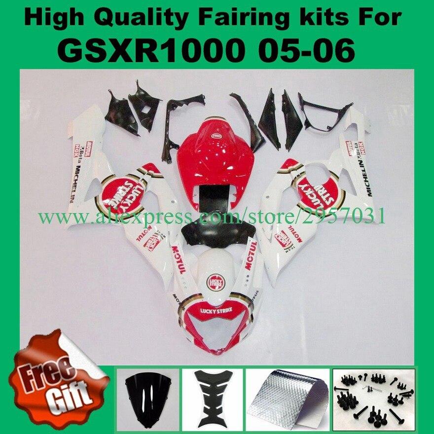 9 الهدايا ، حقن fairings لسوزوكي GSXR1000 2005 2006 GSXR 1000 GSX-R1000 05 06 K5 K6 هدية كيت لاكي سترايك الأحمر الأبيض