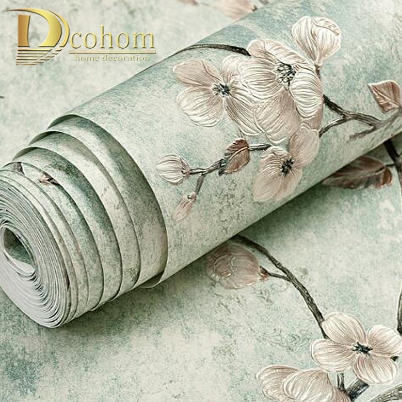 Американский деревенский цветок виноградной лозы обои домашний декор однотонный зеленый рулон обоев для гостиной спальни украшения росписи