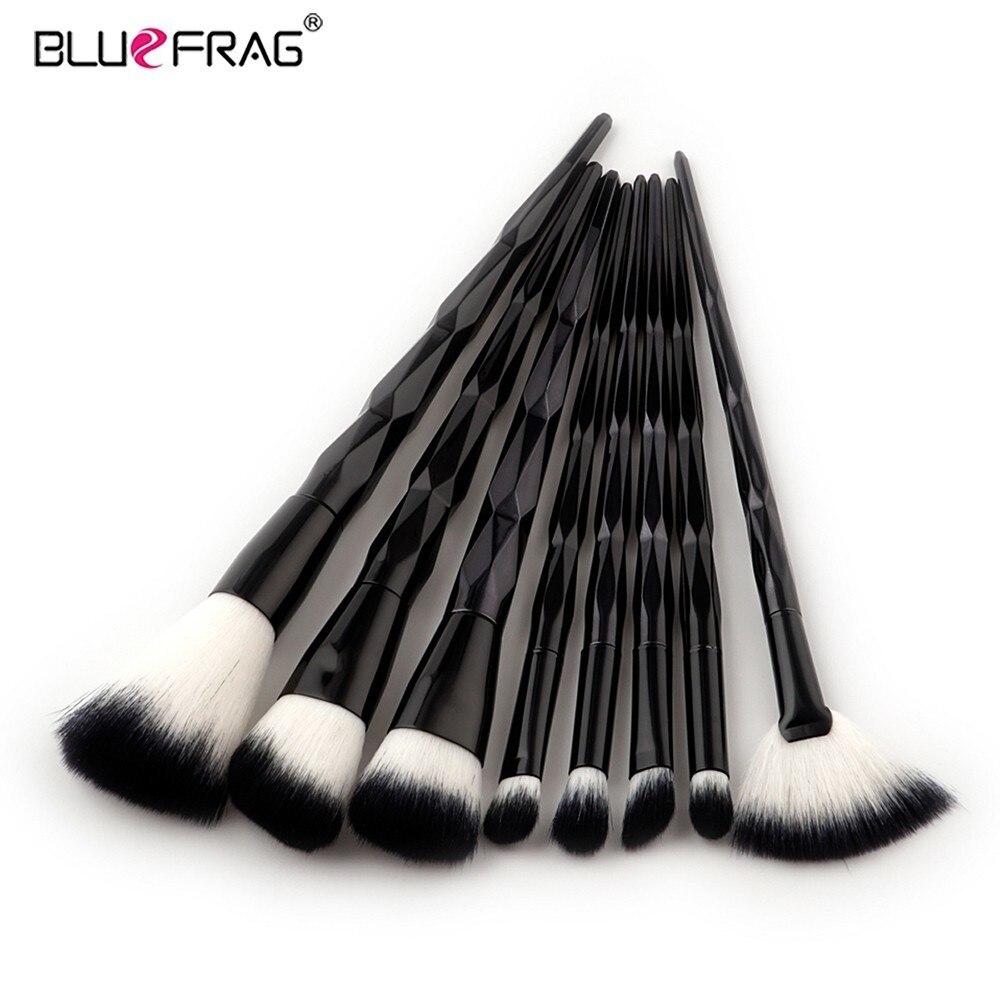 BLUEFRAG 8 unids Completo sistema de Cepillo Del Maquillaje Negro Elegante Ploygone Mango Fundación Corrector Powder Cepillo Sombra de Ojos Herramientas de Cosméticos