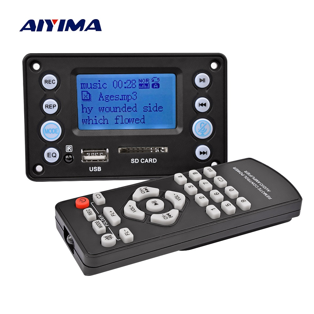 AIYIMA 5V LCD MP3 Decoder Board Bluetooth 4.2 Audio Receiver APE FLAC WMA WAV Decoding Support Recor