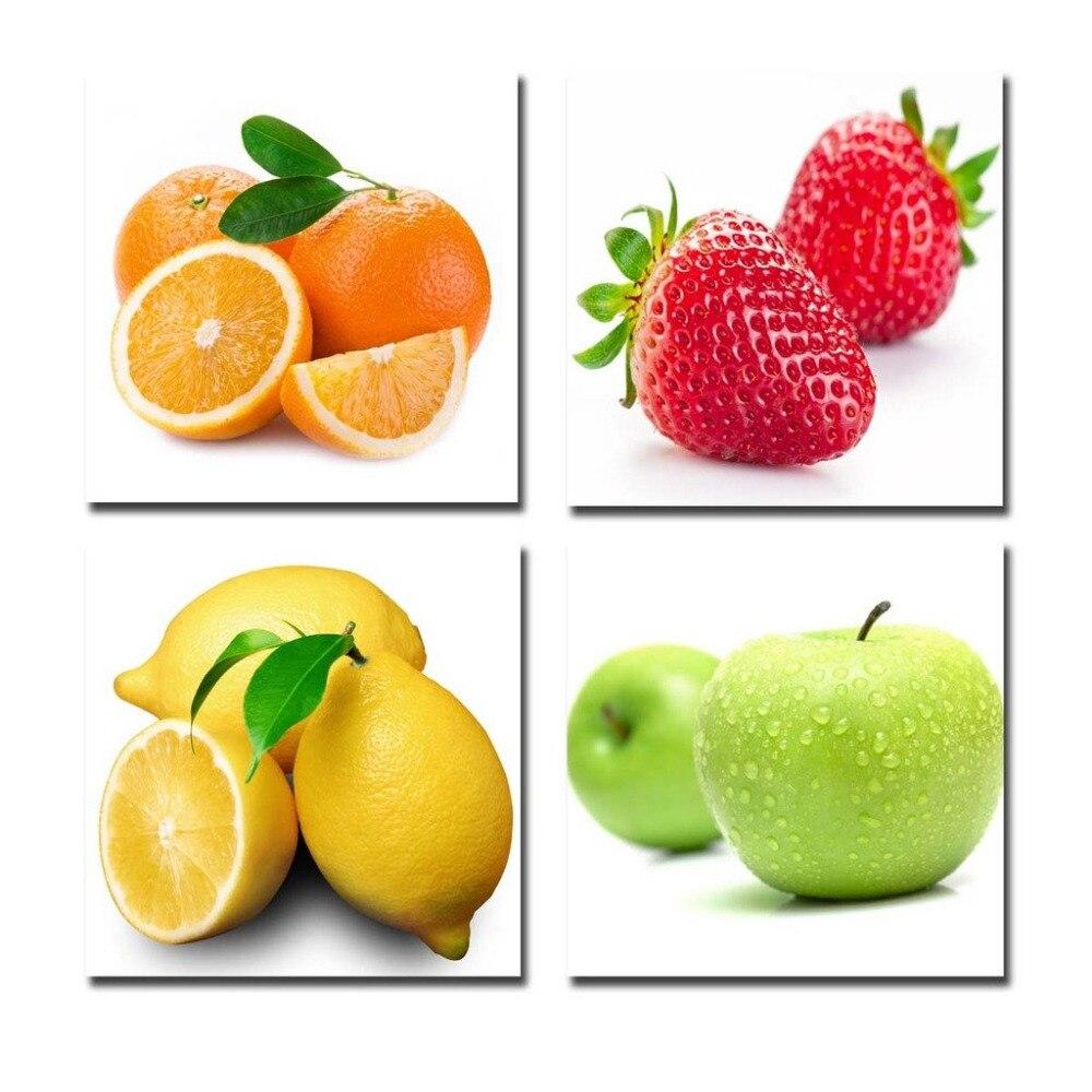 4 unids/set estirado y enmarcado naranja, manzana, limón, frutas de fresa diseño pintura de la pared Envío Directo