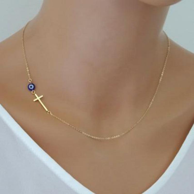 Collar de colgante de Cruz Simple de oro lateral para mujer, ojos delgados, Cruz, celebridad inspirada, cadena, Collar, joyas de cuello Bijoux