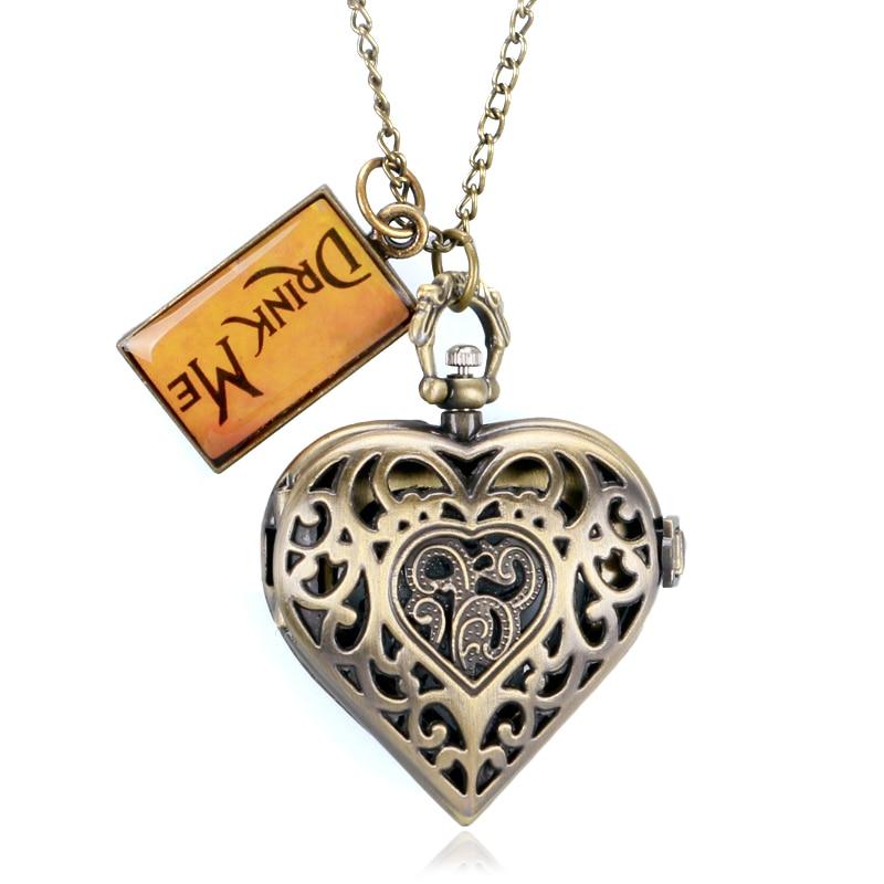 Corazón Vintage en forma de collar para las mujeres pareja, novia de cuarzo relojes de bolsillo moda hermosa chica colgante etiqueta beber cadena