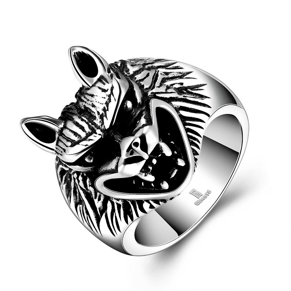Antigo maya comércio exterior gárgula masculino anel jóias punk lobo vermelho cristal anel jóias para homem lobo cabeça biker anel tamanho 8-11