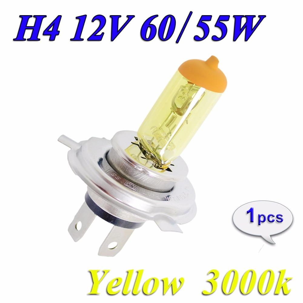 Hippcron H4 Halogen Bulb Yellow 12V 60/55W 3000K 1 Pcs HeadLight Glass Car Light Auto Lamp