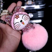 Pendentif de voiture mignon beau Style chinois chat chanceux strass dessin animé en peluche fourrure boule décoration suspendus ornements Auto accessoires