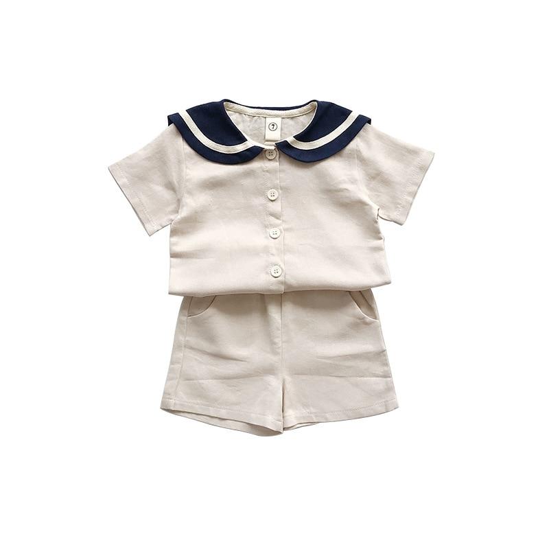 Korean Style Sailor Girls Clothing Sets For Boys Clothes Suits 2019 Summer Children Clothes T shirt+Shorts 2Pcs Linen Sets