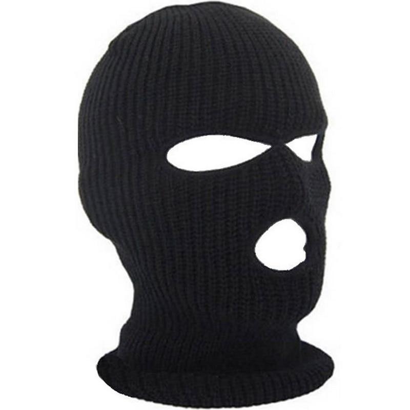 Полное покрытие лица 3 отверстия черная вязаная шапка зима тянущаяся Снежная Маска Шапочка шапка ветрозащитная теплая дышащая маска для верховой езды