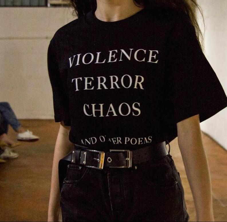 Vi * lence terror caos e outros poemas citações camiseta unissex tumblr moda grunge gráfico t estilo rua roupas de verão camisa