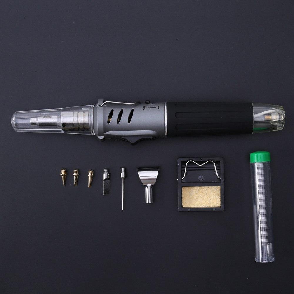 Kit de herramientas 10 en 1 de pistola de hierro para soldar automático, conjunto de soldadura de Gas de encendido eléctrico, soplete de soldadura de Gas