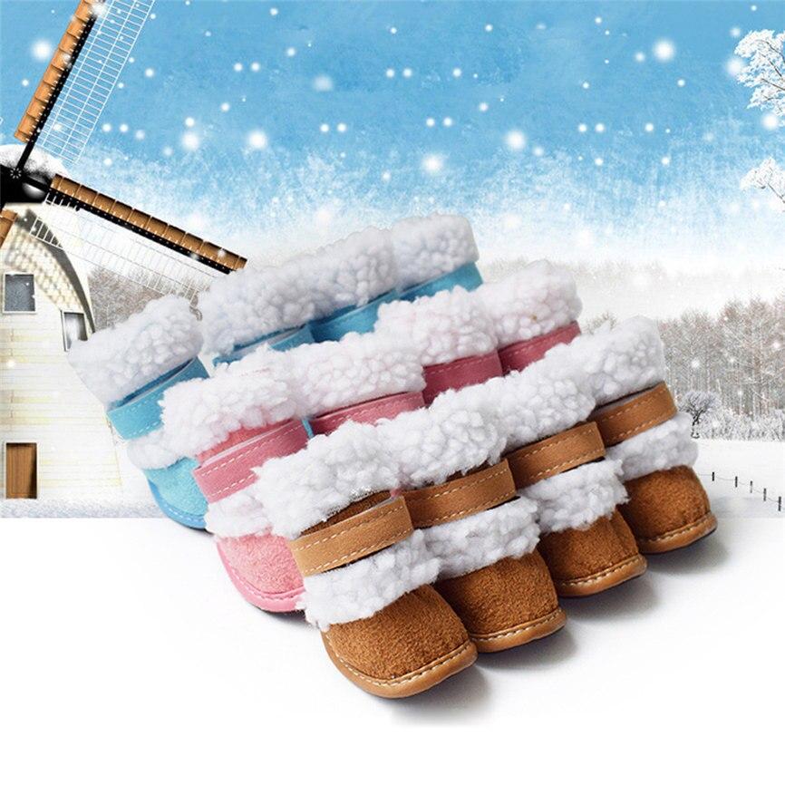 4 шт. бархатная и оксфордская обувь для маленьких собак зимние сапоги размеры 1 5