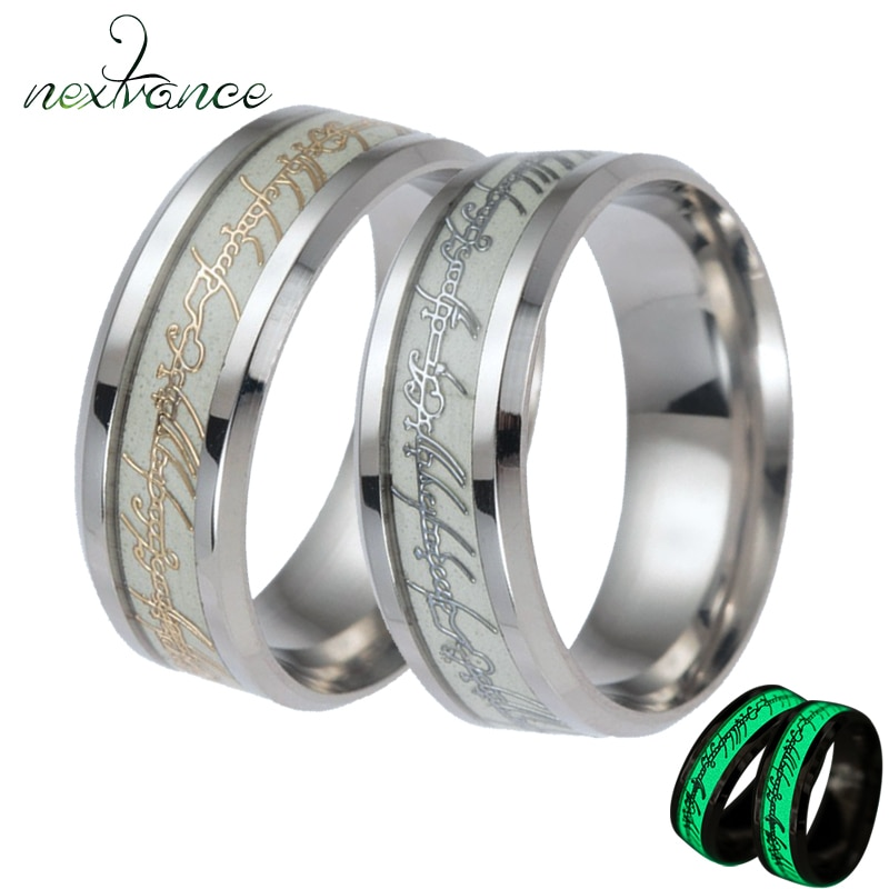 Nextvance, anillo brillante de 8mm para el Señor de los Anillos, anillo de compromiso de Punk Rock Hobbit, joyería de moda con abalorio de película, envío directo