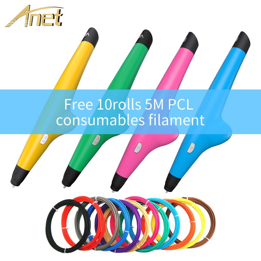 Anet Low temperature 3D Pen Drawing 3D Printing Pen with 2rolls PCL filament refills 3D Pen For kid Birthday Present VP05