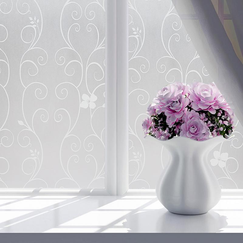 Nuevo adhesivo de vidrio adhesivo de dos colores de 40/60x200cm, película de flores para ventana, puerta de ducha, ventana de privacidad de PVC, película de decoración mate
