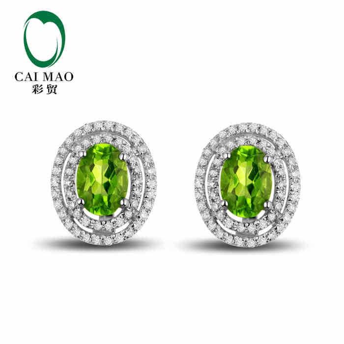 CaiMao 18KT/750 Белое золото 1,78 карат Натуральный Зеленый Перидот & 0,42 карат полная огранка Алмазные обручальные Серьги с драгоценными камнями