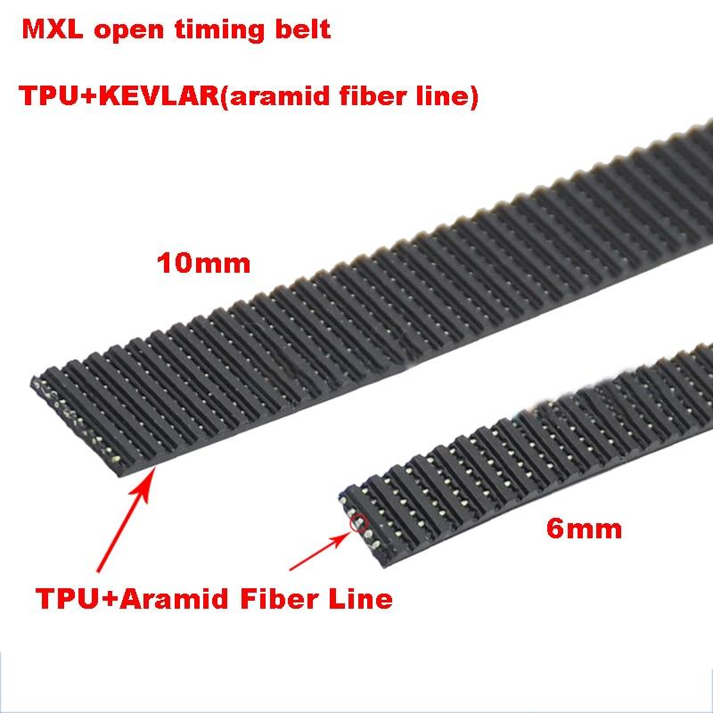 Correa de TPU síncrona de 1 metro con conteo de tiempo abierto, con núcleo de Kevlar, tipo MXL de ancho de 6 a 10mm, paso de 2.032mm, diente Trapezoidal