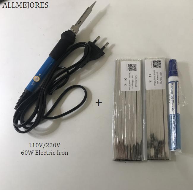 ALLMEJORES DIY панели солнечных батарей сварочные наборы 60 Вт Электрический утюг + 20 метров таксирующий провод + 2 метра бусбар провод + флюс ручка