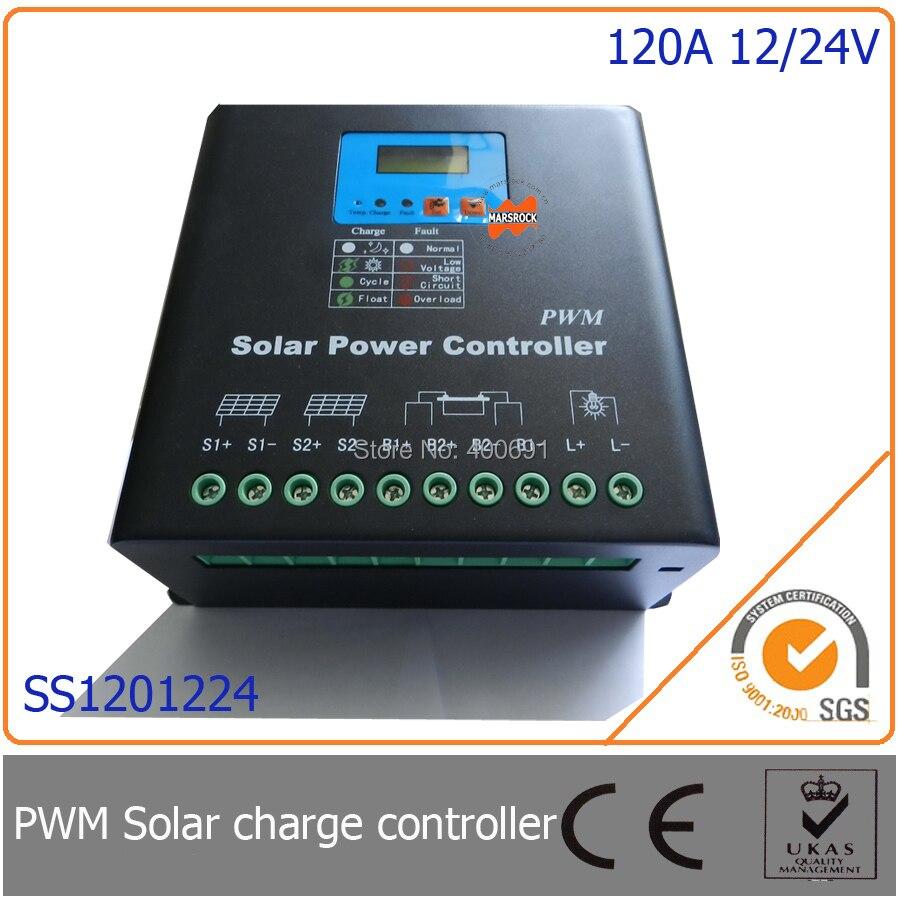 120a 12 24 v pwm controlador de carga solar com led display lcd auto identificacao