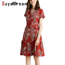 Women Silk Dress 100%REAL SILK CREPE Red Printed Dressed Bat Sleeved Slim Waist Dresses 2019 Summer Knee Length Dresses