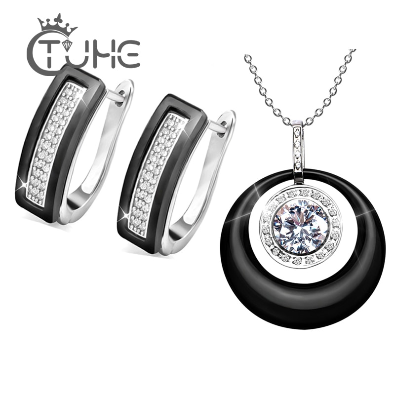 Nuevo pendiente de tuerca de cristal en forma de U para mujer, conjunto de joyería de moda, pendiente de cerámica Natural Real en blanco y negro, collar de regalo de compromiso