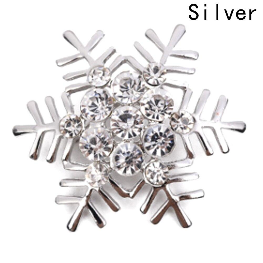 Floco de neve inverno cristal strass casamento broche de noiva pino prata cor ouro broches para o natal