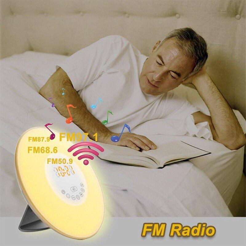Reloj despertador Digital Luz de despertador de Amanecer colorida luz de noche natural con sonidos Radio FM