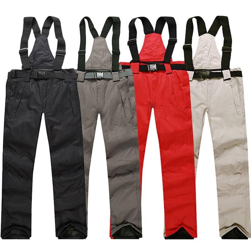 Мужские лыжные брюки 2020 новые брендовые теплые уличные спортивные водонепроницаемые женские зимние брюки подтяжки для взрослых зимние шта...