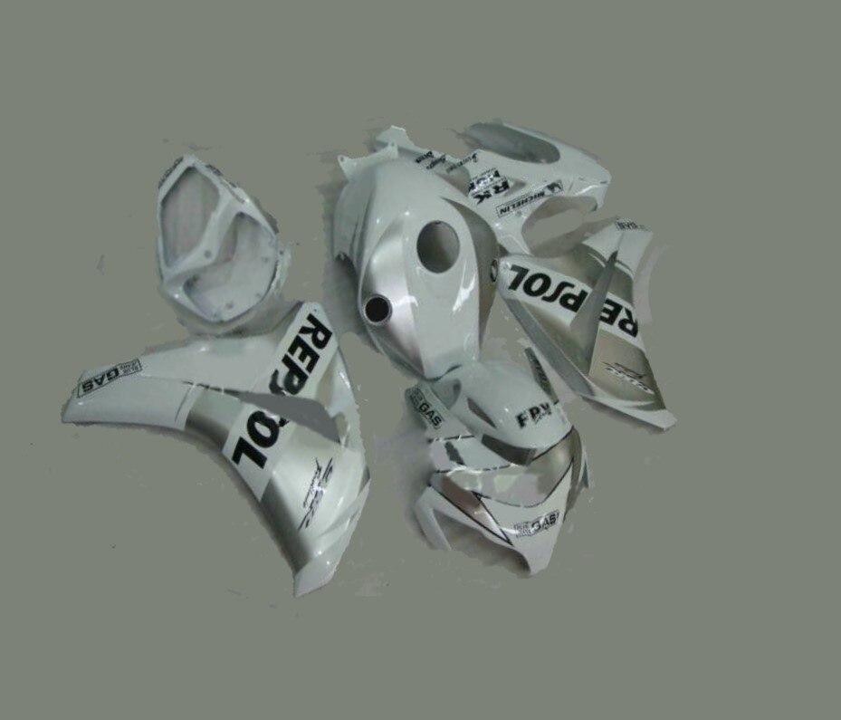 H-inyección carenados completos para Honda CBR1000 CBR1000RR 08 09 10 11, 2008, 2009, 2010, 2011 de plata blanco repsol
