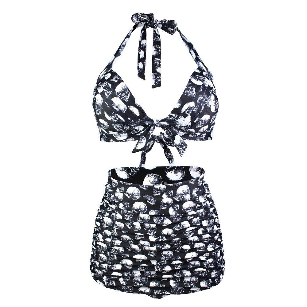 Conjunto De Bikini con estampado De calaveras De talla grande, Bikini Vintage, traje De baño De cintura alta con cuello Halter, bañador De realce, 4XL