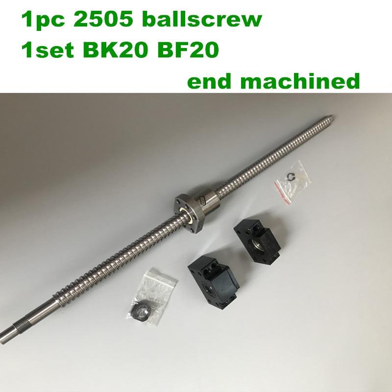 SFU / RM 2505 Ballscrew - L300 400 500 600 مللي متر مع نهاية تشكيله + 2505 الكرة الجوز + BK/BF20 نهاية دعم ل CNC